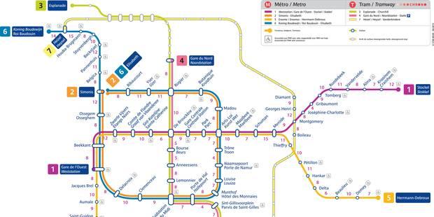 La carte du métro bruxellois en temps de marche - La Libre