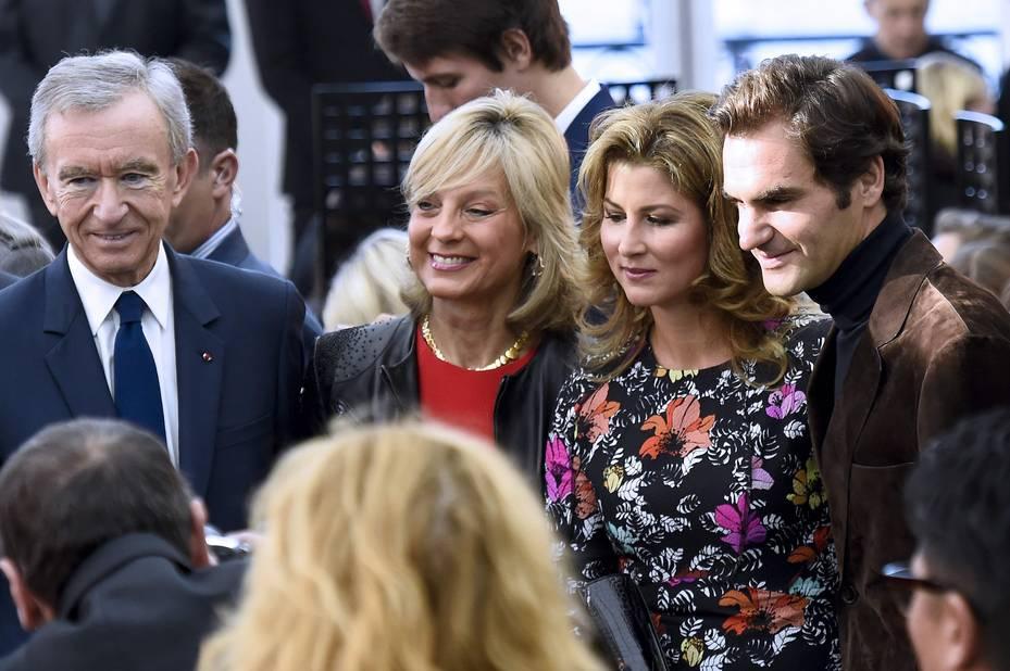 Roger Federer avec sa femme Mirka et Bernard Arnault et son épouse Hélène.