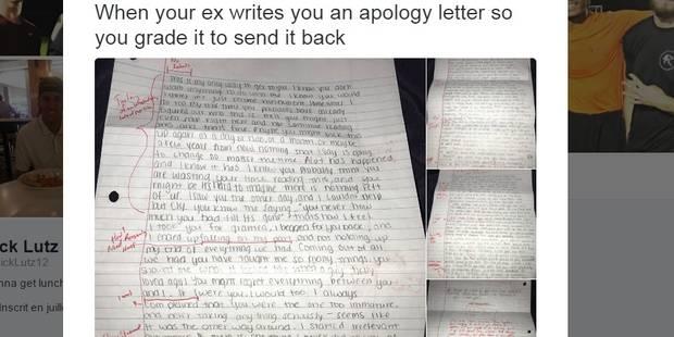 Il reçoit une lettre d'excuses de son ex-copine, sa réaction est totalement imprévisible - La Libre