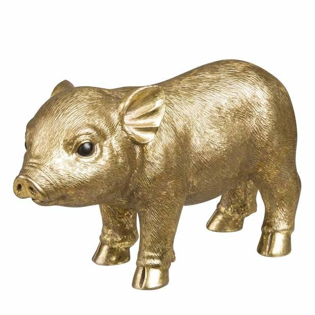 Et même les cochons s'invitent dans nos maisons !             Statuette cochon dorée, Maisons du monde, 12,99 euros