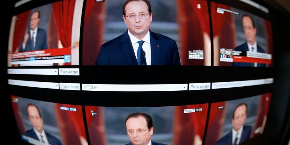 Hollande face à la presse, un président et un homme fébrile