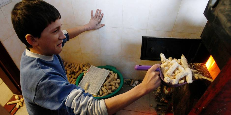 A boy puts corncobs into a stove to warm the air inside his house in the village of Khatsky
