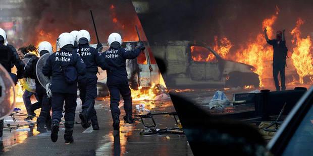 Manifestation nationale: 50 à 60 policiers blessés (IMAGES) - La Libre