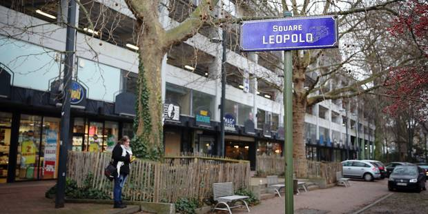 20150129 - NAMUR, BELGIUM: Illustration picture shows a 'Square Leopold' street sign at the 'Parc Leopold' park in Namur, Thursday 29 January 2015. There have been plans to turn the park into a commercial center, against which the local population has protested various times. BELGA PHOTO BRUNO FAHY