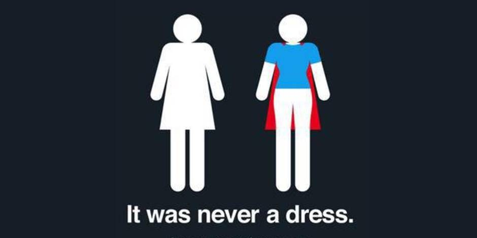 S'identifier avec joie à un pictogramme de WC pour dames
