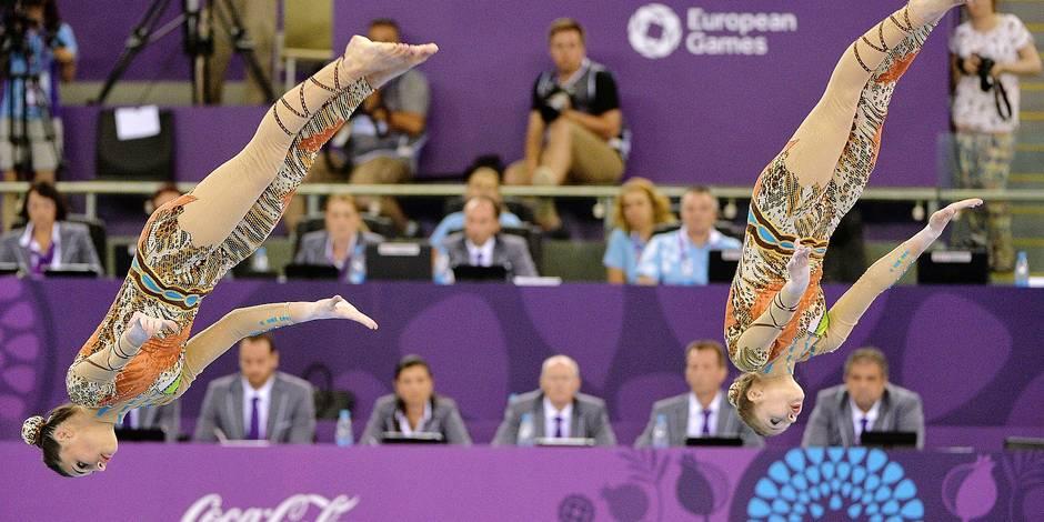 20150621 - BAKU, AZERBAIJAN: Belgian gymnast Ineke Van Schoor, Belgian gymnast Kaat Dumarey and Belgian gymnast Julie Van Gelder and pictured in action during the acrobatic gymnastics Women's Dynamic Final during the European Games 2015, in Baku, Azerbaijan, Sunday 21 June 2015. The European Games 2015 multi-sport event takes place from 12 to 28 June. BELGA PHOTO ERIC LALMAND