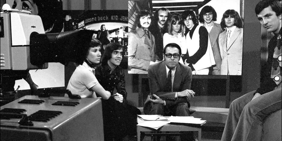 années 65-70 RTL STUDIO LUXEMBOURG JACQUES NAVADIC ET JEAN STOCK
