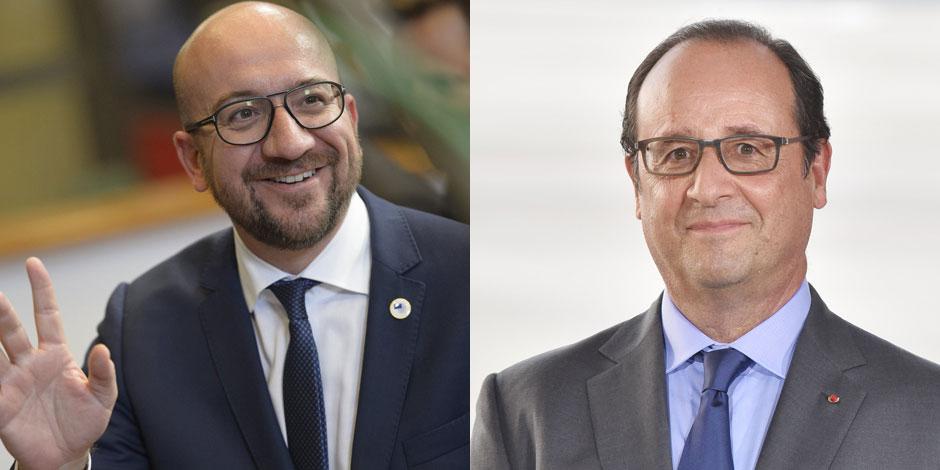 En t-shirt et bottes de moto, Charles Michel rencontre... François Hollande
