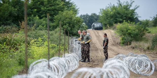 Hungarian soldiers work on the installation of a ence at the border between Hungary and Serbia near Hercegszanto, 189 kms southeast from Budapest, Hungary, Tuesday, Aug.25, 2015. (Tamas Soki/MTI via AP)