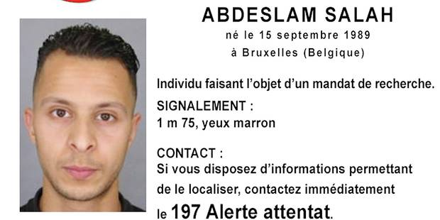 """This handout image, """"appel a temoins"""" (call for witnesses), released by the French Police information service (SICOP) on November 15, 2015 shows a picture and description of Abdeslan Salah, suspected of being involved in the attacks that occured on November 13, 2015 in Paris. Islamic State jihadists claimed a series of coordinated attacks by gunmen and suicide bombers in Paris on November 13 that killed at least 129 people in scenes of carnage at a concert hall, restaurants and the national stadium. AFP PHOTO / POLICE NATIONALE RESTRICTED TO EDITORIAL USE - MANDATORY CREDIT """"AFP PHOTO / POLICE NATIONALE """" - NO MARKETING NO ADVERTISING CAMPAIGNS - DISTRIBUTED AS A SERVICE TO CLIENTS"""