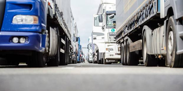 Illustration picture shows the E411 highway in Spontin in the direction of Luxembourg, during a truck drivers protest against kilometer tax, on Wednesday 06 April 2016. On April first Flemish, Walloon and Brussels Capital regions started implementing a kilometer tax for trucks weighing more than 3.5 tons. Belgian and foreign trucks must have an OBU, On Board Unit, when driving on public roads in Belgium. BELGA PHOTO ANTHONY DEHEZ
