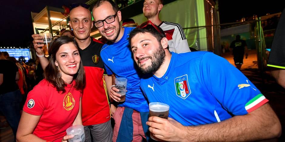 Belle ambiance entre supporters belges et italiens à la veille du match à Lyon (PHOTOS + VIDEOS)