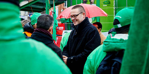 Belgium, Wavre - Dec 08, 2014 - Rotating Strike in Brabant and Brussels Pict By Eric Herchaft © Reporters On the Picture: Raoul Hedebouw Reporters / HERCHAFT