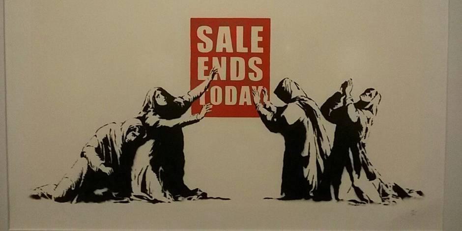 L Art Du Graffeur Anti Capitaliste Banksy Expose Dans Un Centre Commercial Une Singuliere Ironie La Libre