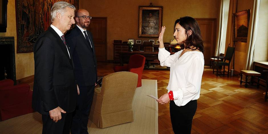 King Philippe - Filip of Belgium, Belgian Prime Minister Charles Michel and new State Secretary for Poverty, equal opportunties, Science and big cities, Zuhal Demir pictured at the oath ceremony of Zuhal Demir as new State secretary for the fight against poverty, equal opportunities, disabled, science politic and big cities in the federal government, in Brussels Royal Palace, Friday 24 February 2017, in Brussels. N-VA Zemir succeeds Sleurs who resigned to become N-VA head of list in Gent. BELGA PHOTO NICOLAS MAETERLINCK