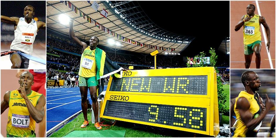 Les cinq 100 mètres historiques d'Usain Bolt