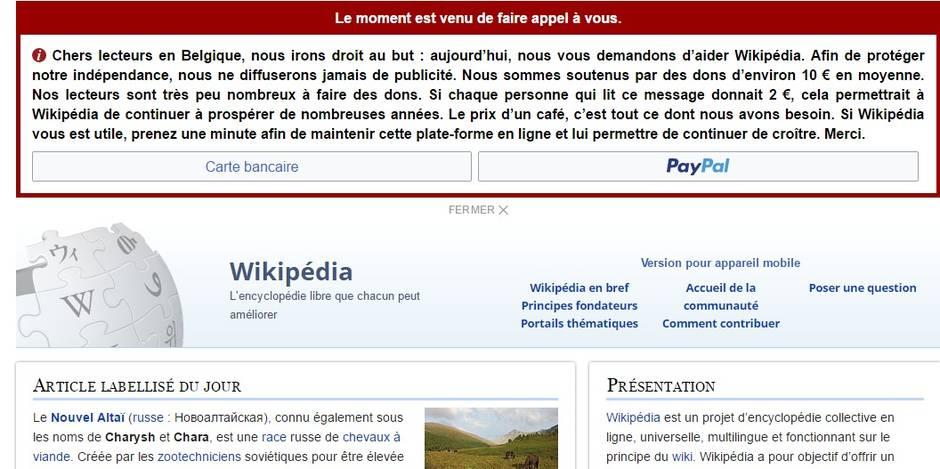 Wikipedia demande de l'aide aux Belges pour survivre