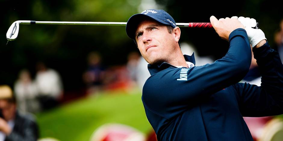 Belgian golf player Nicolas Colsaerts pictured in action during the first event to launch 'Road to Tokyo 2020' of Belgian olympic committee, in Nivelles La Tournette Golf, Monday 04 September 2017. BELGA PHOTO JASPER JACOBS
