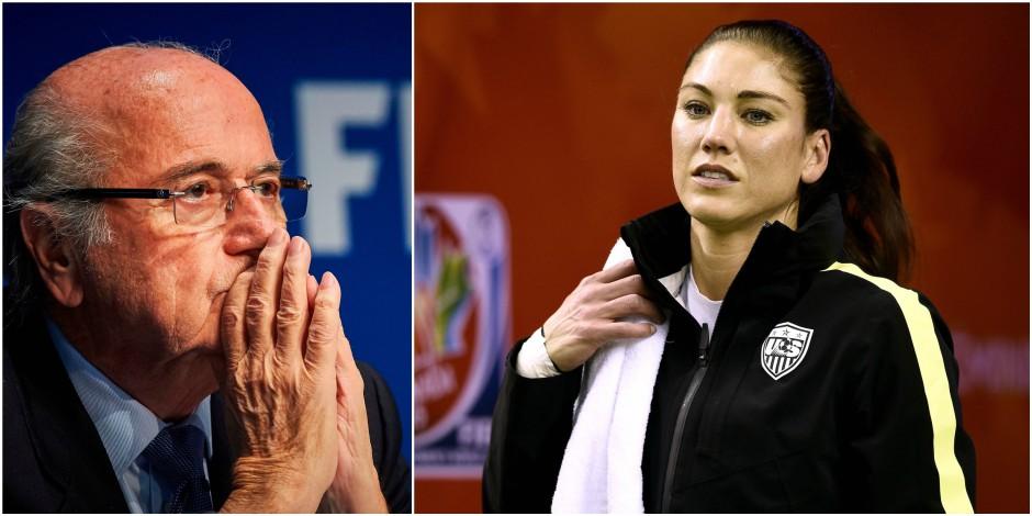 """La joueuse de football Hope Solo accuse Sepp Blatter de lui avoir """"pincé les fesses"""""""