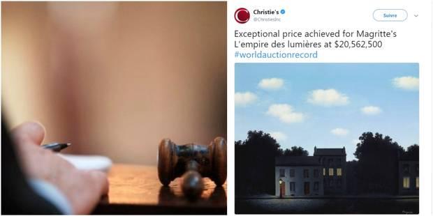"""Nouveau record pour René Magritte: """"L'empire des lumières"""" change de mains pour 20,5 millions de dollars - La Libre"""