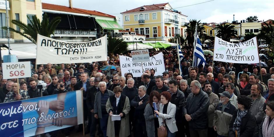 Grève générale à Lesbos face au drame des réfugiés