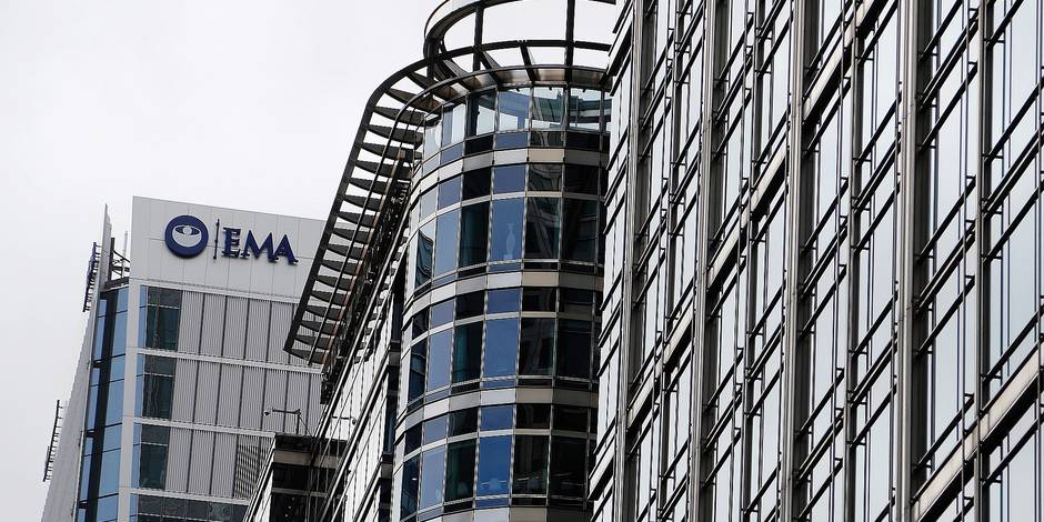 FILE- In this July 28, 2017 file photo, are the headquarters building of the European Medicines Agency, EMA, left, in London. Brexit is still well over year away but two cities on Monday, Nov. 20, 2017 will already be celebrating Britain's departure from the European Union. Two major EU agencies currently in London will be given a new home to move to and the two prizes are hotly fought over by most of the other 27 nations. (AP Photo/Frank Augstein, File)