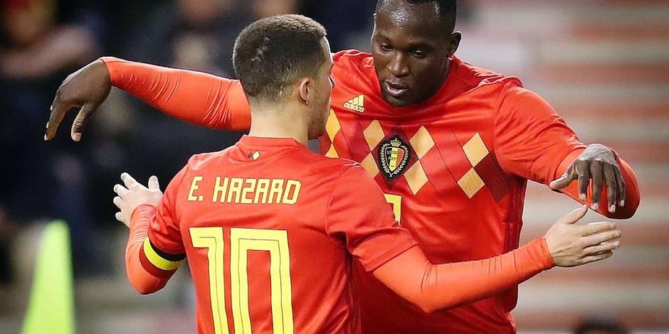 Belgium's Eden Hazard and Belgium's Romelu Lukaku celebrate after scoring during a friendly soccer game between Belgian national team Red Devils and Mexico, Friday 10 November 2017, in Brugge. BELGA PHOTO VIRGINIE LEFOUR