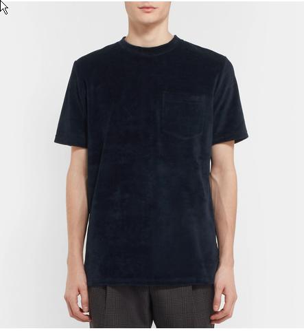 CMMN SWDN. Bren Cotton-Blend Velvet T-Shirt.       150 euros.