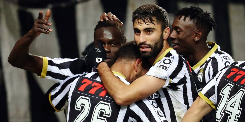 Charleroi's Marco Ilaimaharitra celebrates after scoring during the Jupiler Pro League match between Sporting Charleroi and Royal Excel Mouscron, in Charleroi, Friday 19 January 2018, on the day 22 of the Jupiler Pro League, the Belgian soccer championship season 2017-2018. BELGA PHOTO VIRGINIE LEFOUR