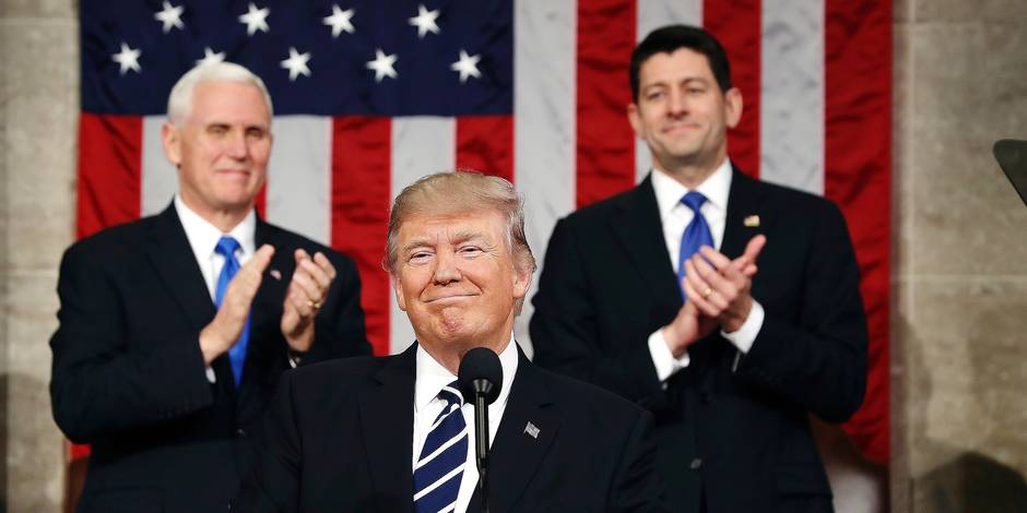 FILE - In this Feb. 28, 2017, photo, President Donald Trump, flanked by Vice President Mike Pence and House Speaker Paul Ryan of Wis., arrives on Capitol Hill in Washington, for his address to a joint session of Congress. No natural orator, Trump has nonetheless shown at times that he can deliver a powerful speech that effectively outlines his vision, strikes an emotional chord and moves commentators to declare that he, at last, looks presidential. And then the teleprompter gets turned off. (Jim Lo Scalzo/Pool Image via AP, File)