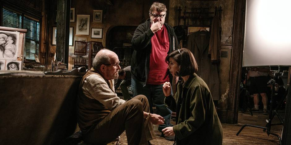 Richard Jenkins, Director/Writer/Producer Guillermo del Toro and Sally Hawkins on the set of THE SHAPE OF WATER. Photo by Kerry Hayes. © 2017 Twentieth Century Fox Film Corporation All Rights Reserved