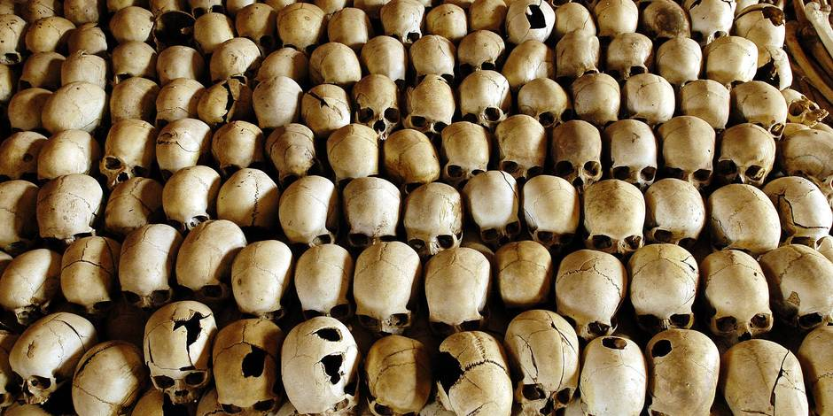 Skulls of victims of the Ntarama massacre during the 1994 genocide are lined in the Genocide Memorial Site church of Ntarama, in Nyamata 27 February 2004. In the Bugesera province, where the small town of Nyamata is located, the 1994 Rwandan genocide was particularly brutal. Among the 59.000 Tutsis who lived in the province, 50.000 were killed during the genocide, and among them 10.000 were slain in the church. AFP PHOTO/GIANLUIGI GUERCIA / AFP PHOTO / GIANLUIGI GUERCIA