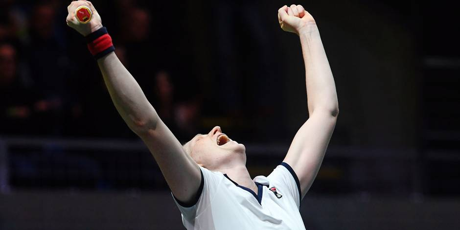 Belgium's Alison Van Uytvanck celebrates her victory over Slovakia's Dominika Cibulkova after their final match of the WTA Hungarian Open Ladies' tennis tournament in Budapest on February 25, 2018. Van Uytvanck won 6-3, 3-6, 7-5. / AFP PHOTO / ATTILA KISBENEDEK STF