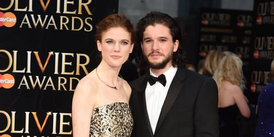 3 April 2016. The Olivier Awards 2016 held at Royal Opera House, Covent Garden, London. Here: Rose Leslie, Kit Harington Credit: Justin Goff/GoffPhotos.com Ref: KGC-03 Reporters / Goff