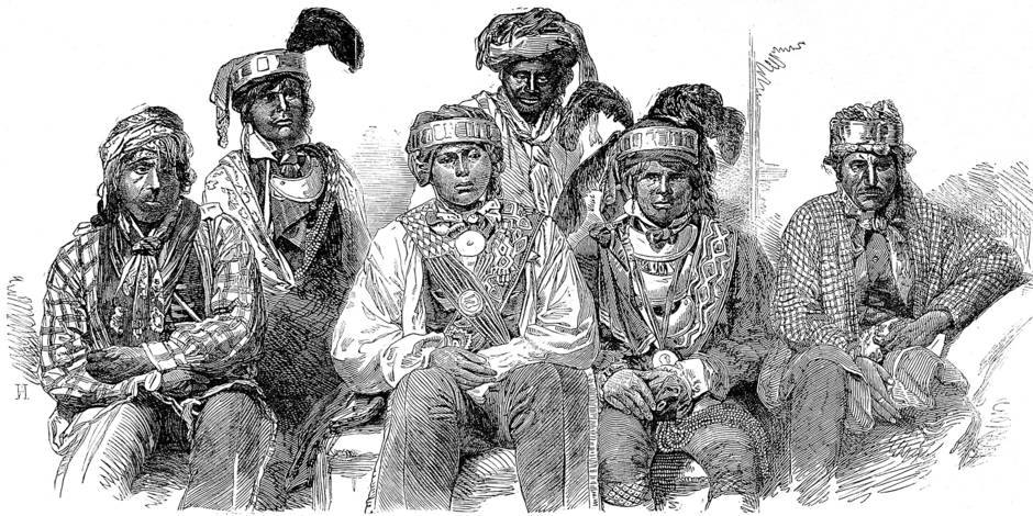 Billy Bowlegs (Holata Micco) was a leader of the Seminole people, he went on to serve as a Captain in the Union Army during the Civil War. This picture dates from the 3rd Seminole war,1855-58, where his people were resisting being resettled from Florida to Oklahoma by the US Government. Date : 1800 Ref : 10218655 Mary Evans Picture Library / Reporters