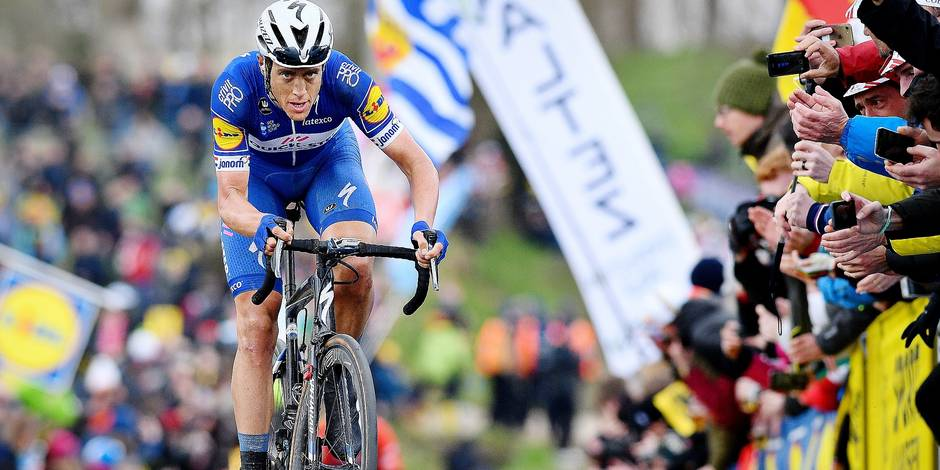 Dutch Niki Terpstra of Quick-Step Floors pictured in action on the Paterberg hill in Kluisbergen during the 102nd edition of the 'Ronde van Vlaanderen - Tour des Flandres - Tour of Flanders' one day cycling race, 264,7km from Antwerp to Oudenaarde, Sunday 01 April 2018. BELGA PHOTO DAVID STOCKMAN