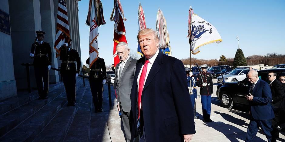 President Donald Trump walks into the Pentagon with Defense Secretary Jim Mattis on his arrival to the Pentagon, Thursday, Jan. 18, 2018. (AP Photo/Pablo Martinez Monsivais)