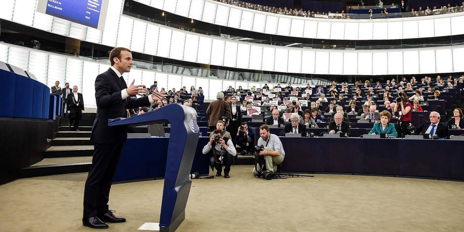 French President Emmanuel Macron speaks before the European Parliament on April 17, 2018 in the eastern French city of Strasbourg. Macron addresses the European Parliament for the first time in a bid to shore up support for his ambitious plans for post-Brexit reforms of the EU. French leader wants big changes in the face of growing scepticism about the European project, but there has been a marked lack of enthusiasm from Berlin to Budapest. Macron's speech to MEPs in the eastern French city of Strasbourg is part of a charm offensive ahead of European Parliament elections in May 2019, the first after Britain's departure. / AFP PHOTO / Frederick FLORIN