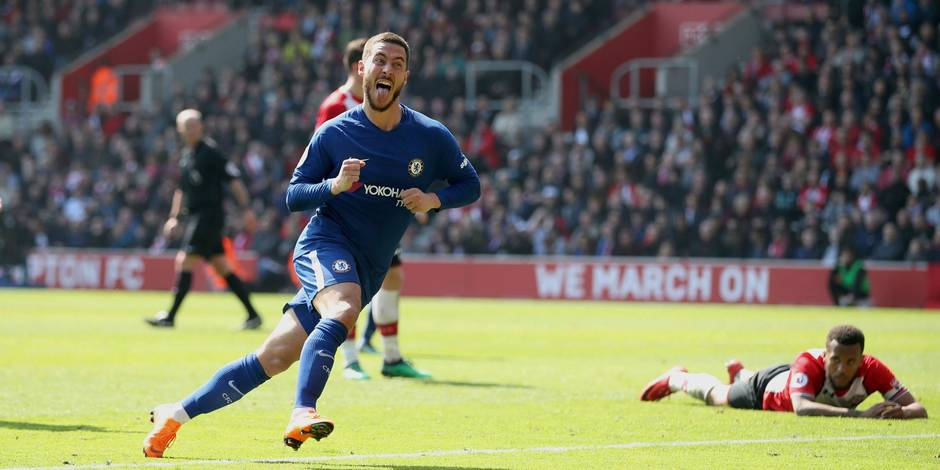 Chelsea's Eden Hazard celebrates scoring his side's second goal of the game during their English Premier League soccer match against Southampton at St Mary's Stadium, Southampton, England, Saturday, April 14, 2018. (Adam Davy/PA via AP)