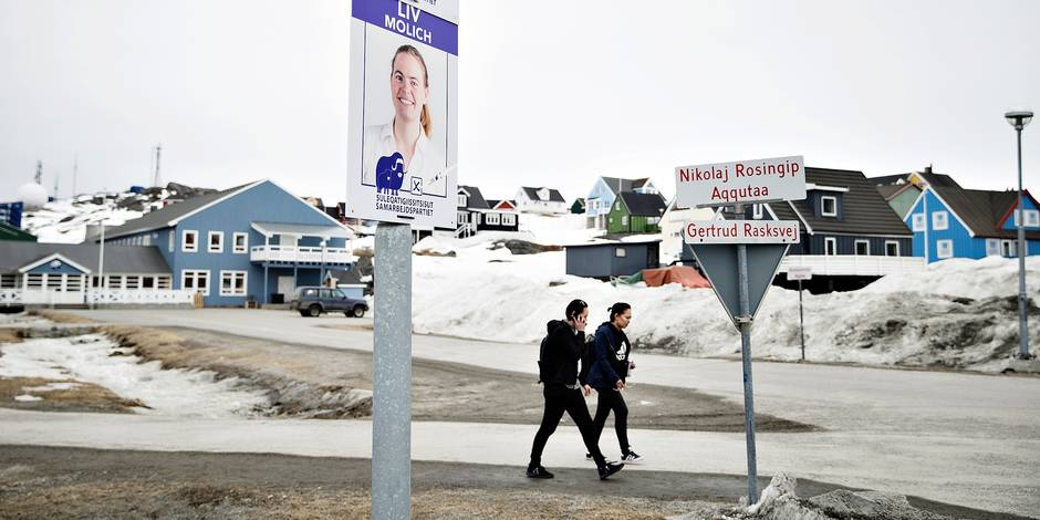 Electoral posters for the upcoming Greenlandic county council elections in the streets of Nuuk, Denmark, Thursday, April 19, 2018. Greenland, an autonomous Danish territory, will hold elections on April 24. (Photo: Christian Klindt Soelbeck / Scanpix 2018)